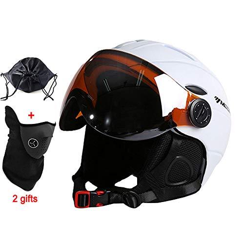 Skihelm, Schutzbrille Skihelm Integral geformte PC + EPS CE-Zertifikat Skihelm Outdoor Sports Ski Snowboard Helm, Männer und Frauen Skischutzhelm Schutzausrüstung,Weiß,XL(61~64CM)