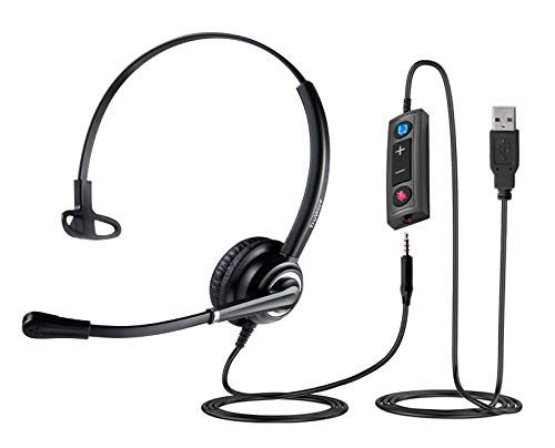 VoicePro 30 Premium USB Office Headset with Noise Canceling Microphone, in-Line Call Controls and Detachable 3.5mm for Smartphones. Compatible with Skype, Dragon, Teams, Zoom, Cisco Jabber, Avaya X