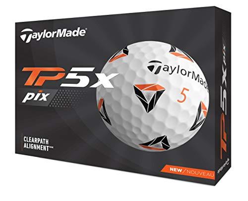 TaylorMade TP5X PIX 2.0 Bola DE Golf, Hombres, Blanco/Naranja, Talla única