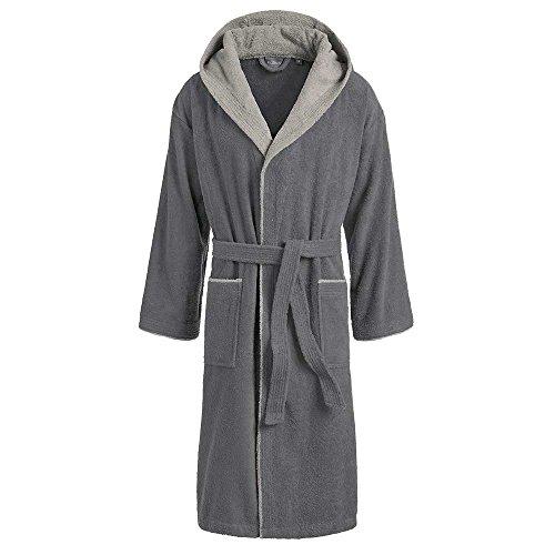 Egeria Cairo 2 Bathrobe Saunarobe with Hood for Women & Men by Eliwareexclusive with New Sizes   Dark Grey/Light Grey   Size M