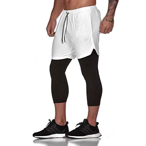 LBL Workout Laufshorts 2 in 1 Laufhose Trainingshose mit 3/4 Leggings, doppelschichtig, schnelltrocknend, atmungsaktiv Gr. 36-41, weiß