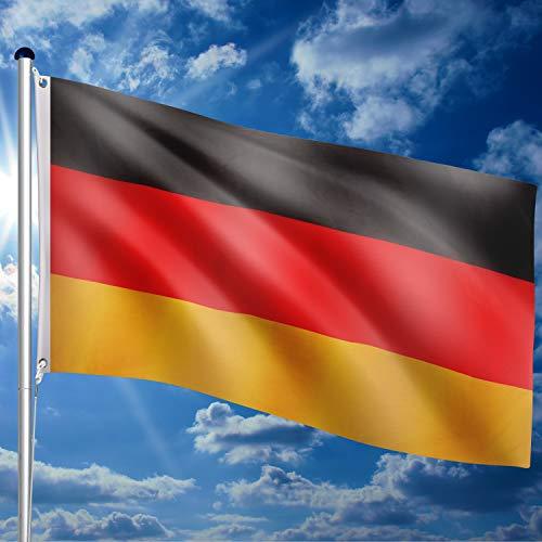 FLAGMASTER® Aluminium Fahnenmast 6,50 m, inkl. Deutschland Fahne + Bodenhülse + Zugseil, 3 Jahre Garantie - 4