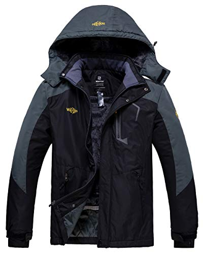 Wantdo Men's Waterproof Ski Jackets Winter Coat with Hood Black & Grey Medium