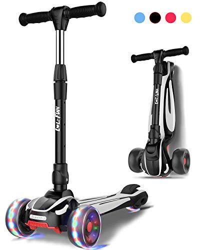 LOL-FUN Scooter for Kids Ages 6-12 Years Old Boy Girl with 3 Wheels, Extra-Wide Children Foldable Kick Scooter Kids Ages 3-5 Toddler with 4 Adjustable Height and Lean-to-Steer - Black