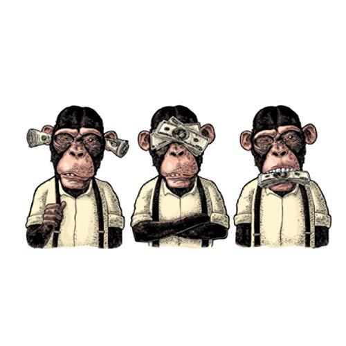 HONGC Divertenti Tre Scimmie Gorilla con Soldi Cuffie Animali su Tela Quadri Dipinti Arte murale per Soggiorno Decorazioni per la casa Immagini di Animali 70x140cm / 27,5'x55,1 Senza Cornice
