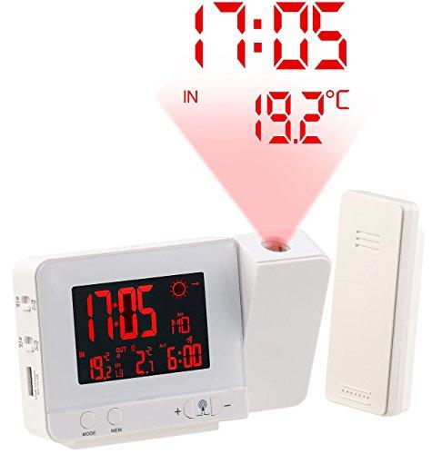 infactory Projektions Funkwecker: Funk-Wetterstation mit Projektions-Wecker, Außensensor und USB, weiß (Projektion Uhr)