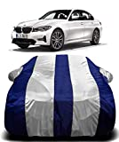 AUCTIMO® Prime Quality 190T Imported Fabric Car Cover for BMW 3 Series with Ultra Surface Body Protection (White Stripes)