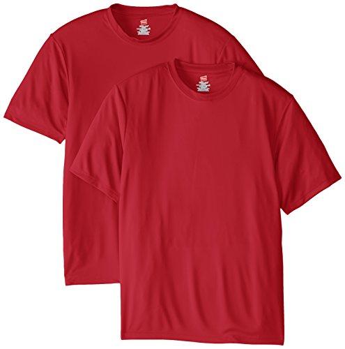 Hanes Men's Short Sleeve Cool DRI T-Shirt UPF 50+, Deep Red, X-Large (Pack of 2)