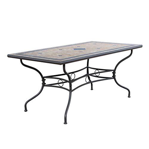 Milani Home s.r.l.s. Tavolo Rettangolare Fisso in Ferro 160 X 90 Piano in Mosaico per Esterno Giardino, Portico, Ristorante, Gelateria Bar