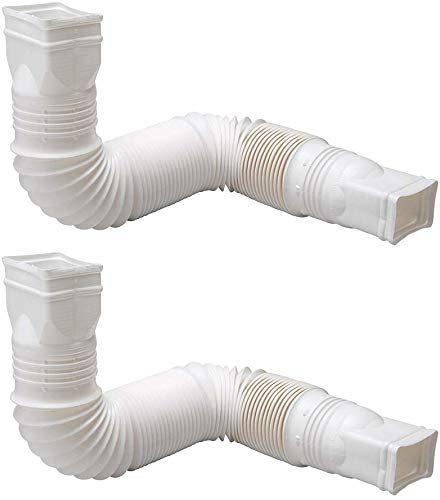 Flex-Drain 85010 Downspout Extension, White - 2 Pack