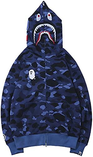 EMLAI Mujer Sudadera con Capucha Bape Hoodie y Bolsillo con Estampado 3D de Tiburón Chaqueta con Cremallera Halloween de Camuflaje (XL, 0 Azul Lista)