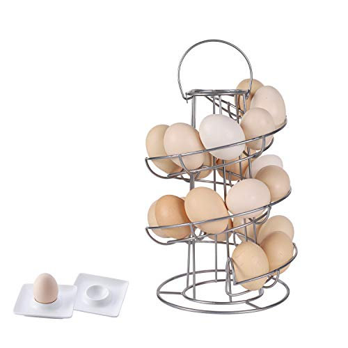 Upgrade Egg Skelter with 2 Egg Cups, Double Stable Base Spiral Design Metal Modern Egg Dispenser Drying Rack for Egg Storage Organizer - Silver