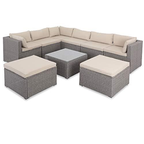Casaria Poly Rattan XXL Lounge Set inkl. 7cm Auflagen und 15cm dicken Kissen Tisch mit Glasplatte frei stellbare Elemente Gartenmöbel Sitzgruppe Grau Beige