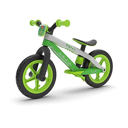 Chillafish Bmxie 2 leichtes Laufrad mit integrierter Fußstütze und Fußbremse, für Kinder 2 bis 5 Jahre, 12' Zoll pannenfreie Gummihautreifen, Verstellbarer Sitz ohne Werkzeug, Grün-Lime