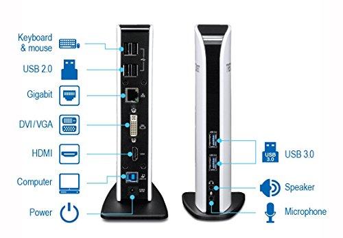 TRENDnet USB 3.0 Universal Docking Station, Dual Video Outputs, Windows and Mac (10.9 - 10.15) Compatible, HDMI and DVI/VGA, Gigabit Ethernet, Audio, Plug & Play, TU3-DS2