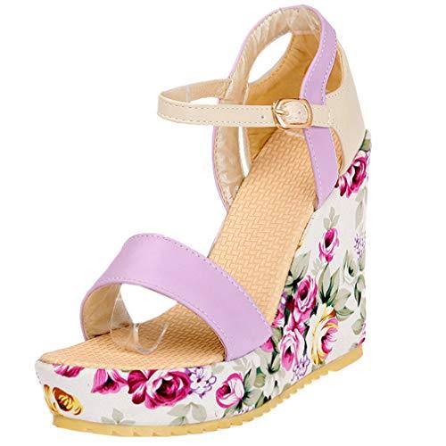 AIMODOR Keilabsatz Sandalen Damen Blumenmuster Riemchen Plateau High Heels Sandaletten lila 35