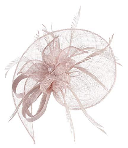 GEMVIE Damen Fascinators Hut Elegant Brauthut mit Feder Haar Clip Hut Tea Party Clip Haarschmuck Rosa