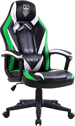 Grün Gaming Stuhl, Ergonomischer PC Stuhl mit Massage, Hohe Rückenlehne PC Gaming stühle für Gamer, Racing Style Verstellbarer Computerstuhl für Erwachsene, Großer Bürostuhl mit Armlehne (Grün)