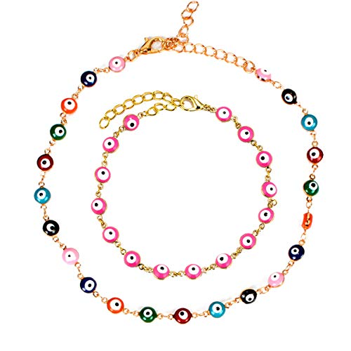 Juego de 2 collares de protección de la suerte, chapados en oro de 14 quilates, diseño de difundido, para mujeres y niñas, para joyas populares
