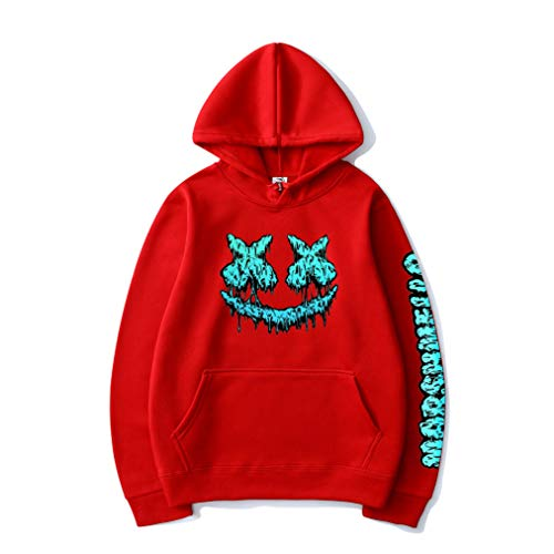 IIOGO Men's Pullover Hoodie DJ Smile Happy Print Hip Hop Sportswear for Men and Women New red-Large
