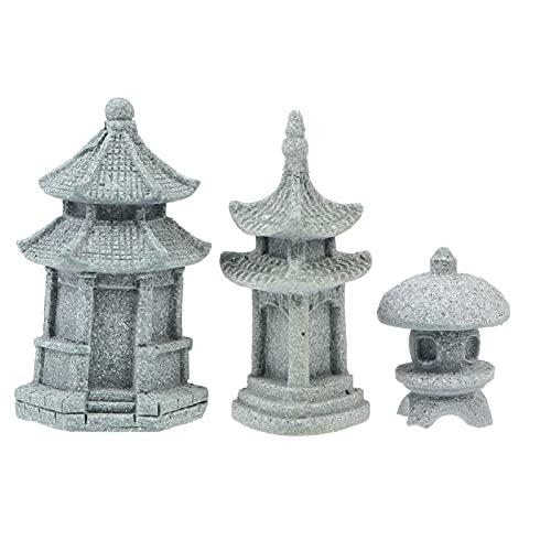 Cabilock 3 Piezas Miniatura Decoración de Jardín de Hadas Pagoda Japonesa Linterna Mini Estatua Zen Jardín Ornamentos de Meditación para Jardín Patio Micro Paisaje Bonsái Decoración