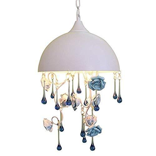 OUPPENG Retro Europea Luces Pendientes, Flores de Rose Retro Dormitorio de la lámpara, ático Tienda de la Boda Tienda de Ropa Azul de la lámpara, Ajustable la Longitud de la Cadena de la Personalidad