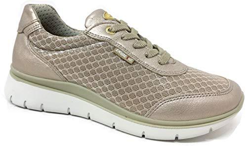 Enval Soft 5258522 Sneakers voor dames, echt leer/mesh, ademend champagne