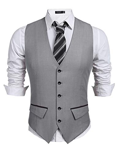 COOFANDY Men's Business Suit Vest,Slim Fit Skinny Wedding Waistcoat (Medium, Light Grey)