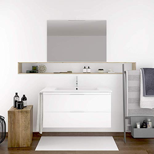 DUCHA.ES Mueble DE BAÑO SUSPENDIDO ROCA con Lavabo Espejo TOALLERO Y Aplique LED MIZAR 60 CM (Blanco Brillo)