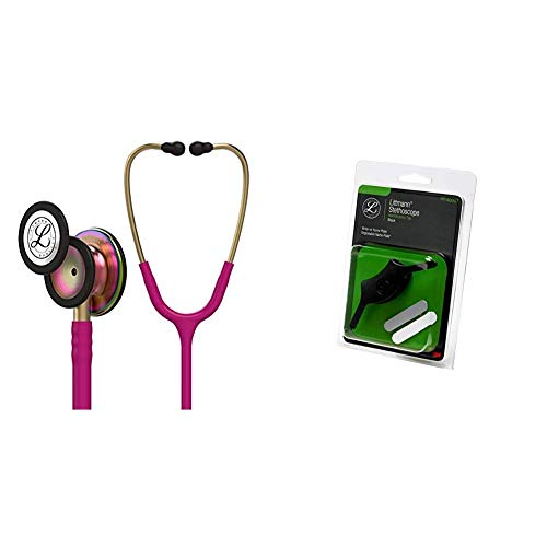 3M Littmann Classic III Monitoring Stethoscope, Rainbow-Finish, Raspberry Tube, 27 inch, 5806 + 40007 Stethoscope Identification Tag, Black