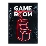 GREAT ART® Gaming Póster Negro Rojo - Game Room - Máquina tragamonedas Arcadas Luz neón Cartel retro Decoración hogar Pared (Din A2 42 x 59,4 cm)