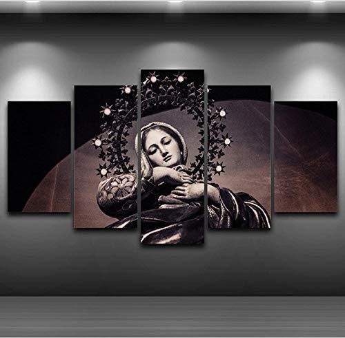 CJFHBVUQ Arte De La Pared Moderna Lienzo Fotos para Sala De Estar Carteles 5 Unidades Virgen María Pintura Decoración para El Hogar HD Marco De Fotos Impresas 80X150Cm