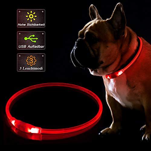 KABB LED Hundehalsband, USB Wiederaufladbares Blinkhalsband für die Sicherheit bei Nacht, Verstellbares, Wasserdichtes, Hell Beleuchtetes Halsband für Hunde - Eine Grösse passt Allen, Rot