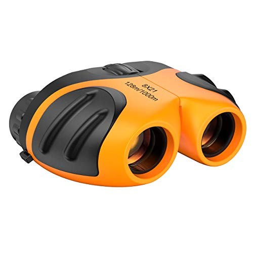 Dreamingbox Toys for 3-12 Year Old Boys, 8x21 Compact Binoculars Camping Toys for Boys Age 3-12 2020 New Xmas Gifts for Girls 3-12 Years Old Bird Watching Gifts Stocking Fillers Orange TGUS05