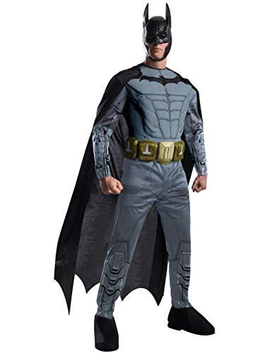 Batman Arkham Kostüm mit Muskeln Herren 4-TLG. schwarz grau - L