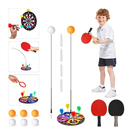 Bivan Tischtennis Trainer, Kinder Tragbares Tischtennis-Set Mit Weichem Schaft Für Selbsttrainin, Freizeit, Dekompression, Kinder Erwachsener Home Entertainment Indoor Outdoor Spielen (Black)
