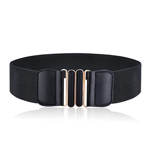AYPOW Donna Cinture Retrò Larga Cinghie Elastiche Stretch Belt Vestito Cinture Cappotto con Metallo Larga Fibbia/ 6 Centimetri