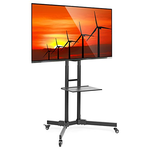 Mount Factory Rolling TV Stand Mobile TV Cart for 32-65 inch Plasma Screen, LED, LCD, OLED, Curved TV's - Mount Universal with Wheels