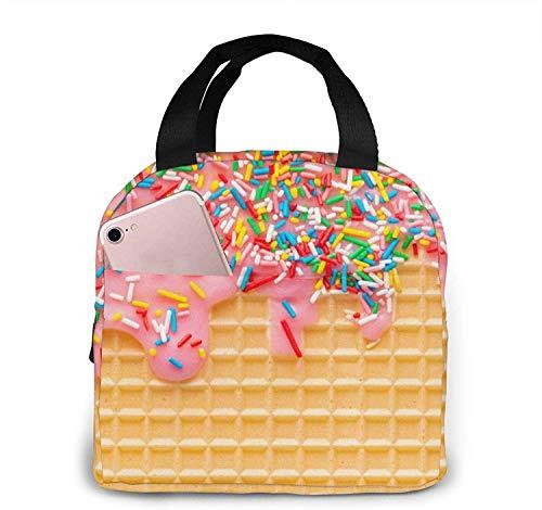 Waffle con glaseado rosa Bolsa de almuerzo Caja de almuerzo Bolsa térmica resistente al agua Organizador de almuerzo para picnic de trabajo Deportes de playa