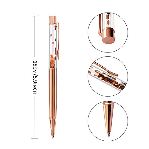 ZZTX 3 Pcs Rose Gold Ballpoint Pens Metal Pen Bling Sequin Pen With Refills Black Ink Office Supplies Gift Pens Photo #5