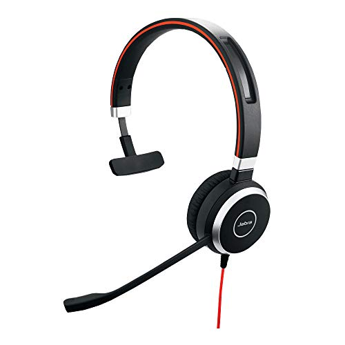 Jabra Evolve 40 UC mono-kabel headset met USB en 3,5 mm jack voor Unified Communications aan PC/laptop/smartphone/tablet, busylight