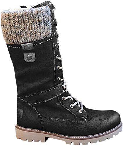 Flache Schnürschuhe für Damen, Halbwaden-Stiefel, Biker, Reiten, Winter, warme Schuhe (Schwarz, 37)