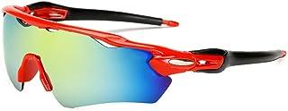 QWKLNRA - Gafas De Sol para Hombre Lente Amarilla De Marco Rojo Polarizado Gafas De Sol Deportivas Deportivas para Hombre contra-UV Ciclismo Montaña Protección De La Bicicleta Gafas Gafas Accesorios