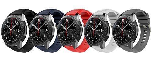 TiMOVO Pulsera Compatible con Samsung Gear S3 Frontier/Galaxy Watch 46mm, [5-Pack] Pulsera de Silicona, Correa de Reloj Deportivo, Banda de Reloj de Silicona - Multi Color A