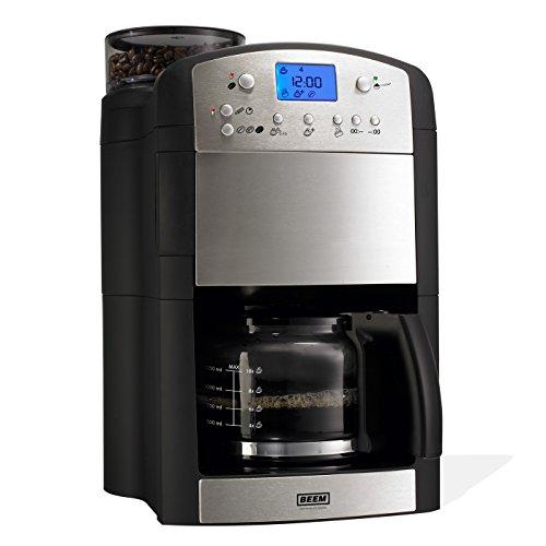 BEEM Kaffeeautomat Fresh-Aroma-Perfect Thermostar | Kaffeemaschine mit Mahlwerk, Glaskanne, Permanent-Goldfilter, Timer, 92C° Brühtemperatur [Edelstahl,1000W]