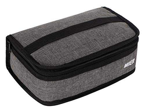MIER Portable Thermal Insulated Cooler Bag Mini Lunch Bag for Kids Grey