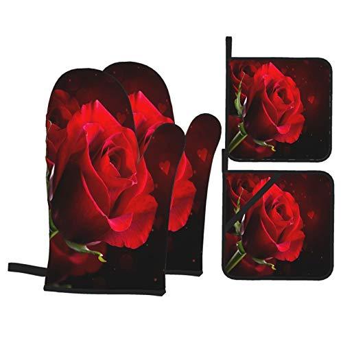Juego de 4 Guantes y Porta ollas para Horno Resistentes al Calor Flor Rosa roja aislada sobre Fondo Negro para Hornear en la Cocina,microondas,Barbacoa