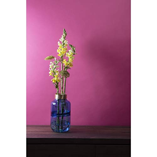 Kare 61780 Vase Positano Belly Blau 28cm, Glas, Messing lackiert