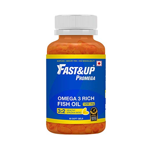 Fast&Up Promega 1250mg Omega 3 High Strength Fish Oil (625mg EPA and DHA) – Heart health – healthy eyes – joint care – Fish Oil Supplements – 60 Capsules – Chocolate Flavor