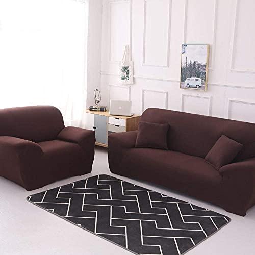GMLT Stretch Material, Couch/Bed Throw,Einfarbige Stretch-Sofabezug, Vier Jahreszeiten universelle rutschfeste Sofabezug, einfarbige Möbel staubdichte Sofakissenbezug-Brown_235-300cm
